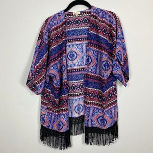 Lily White Multicolored Cardigan With Fringe Large
